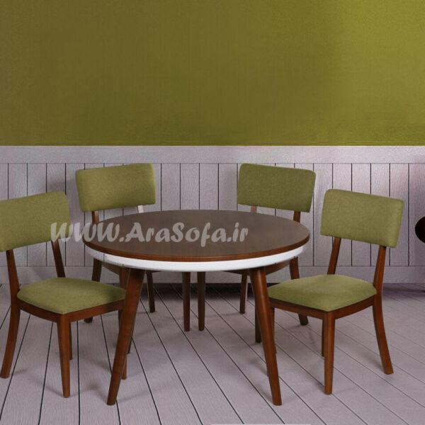 میز نهارخوری گرد لبهدار ۴ نفره مدل mnbam10g-4 - مبل آرا