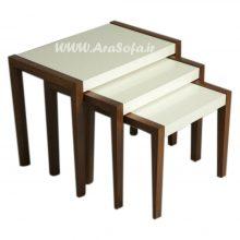 میز عسلی سفید سه پارچه مدل : mst6